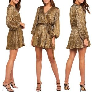 Bardot Belissa Gold Pleated Faux Wrap L/S Mini